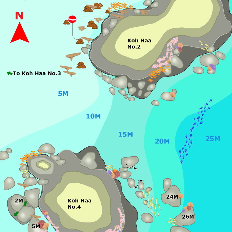 Phuket Dive Guide : Koh Haa the Lagoon dive map