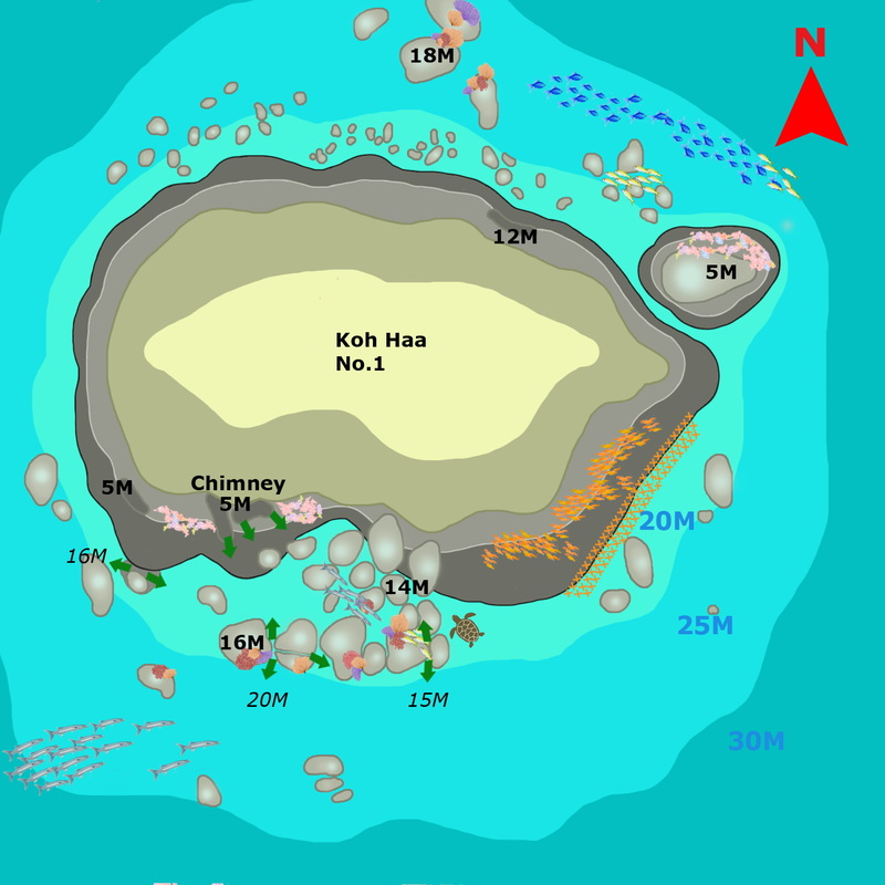 Phuket Dive guide : Koh Haa the Cathedrale dive site map