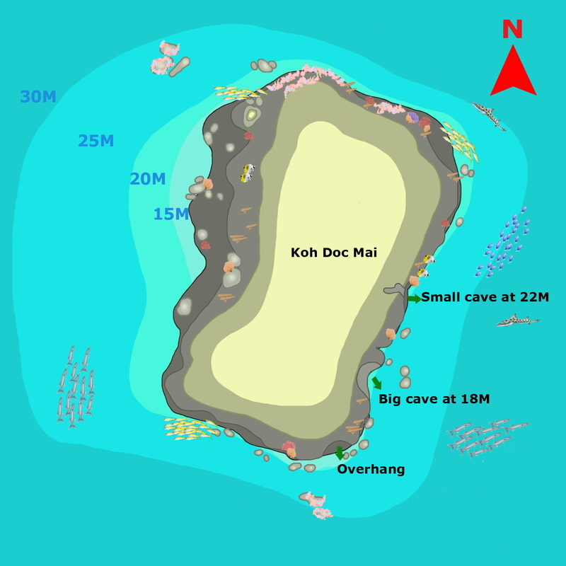 Phuket Dive Guide : Koh Doc Mai dive site map